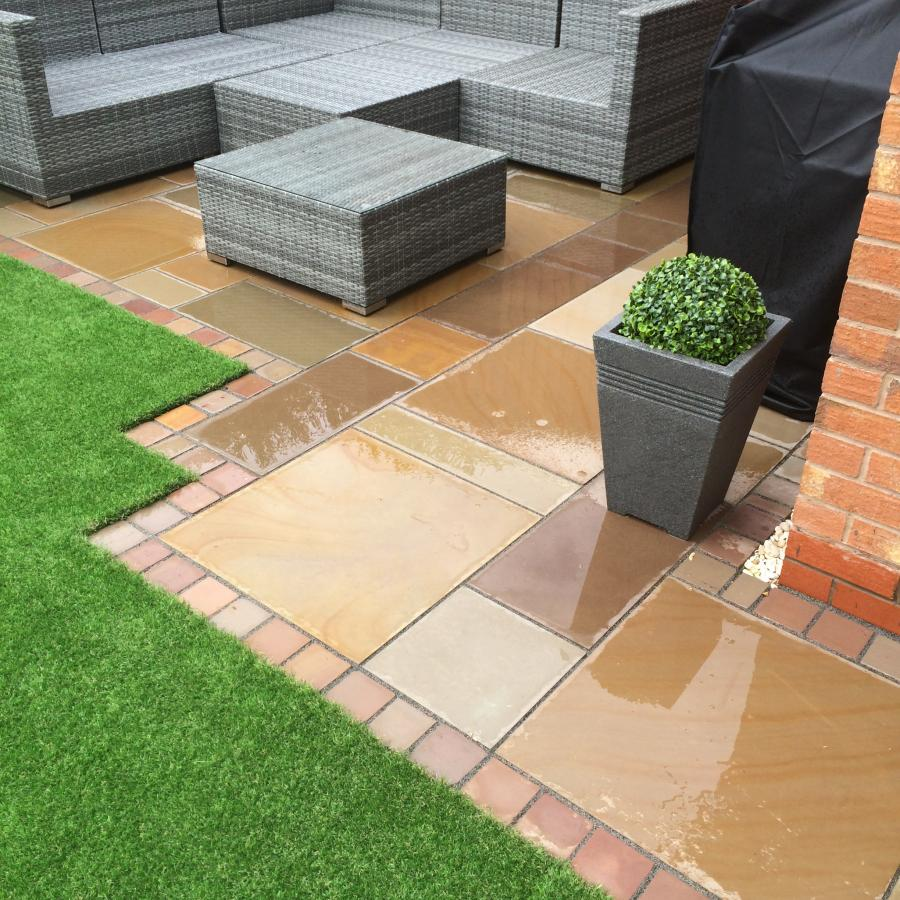 9 Natural Smooth Sandstone Patio, Pathways and Artificial Grass Image