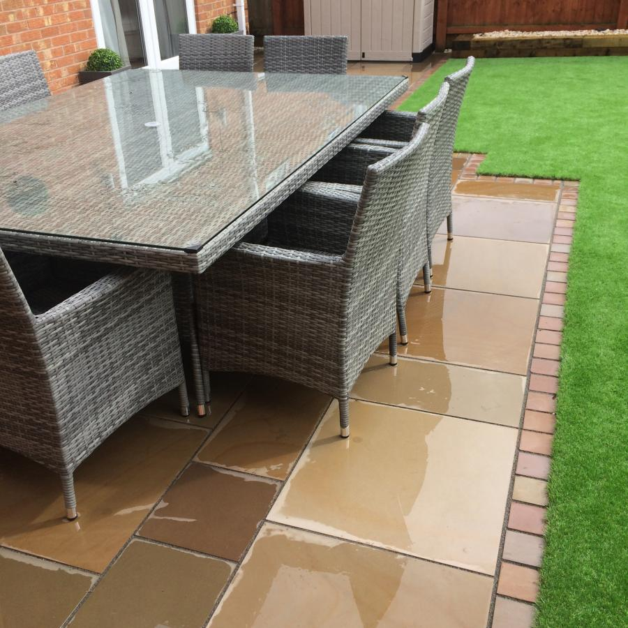 2 Natural Smooth Sandstone Patio, Pathways and Artificial Grass Image