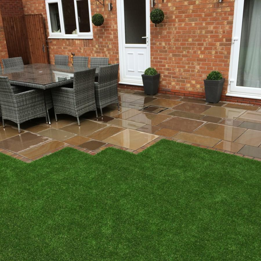 6 Natural Smooth Sandstone Patio, Pathways and Artificial Grass Image