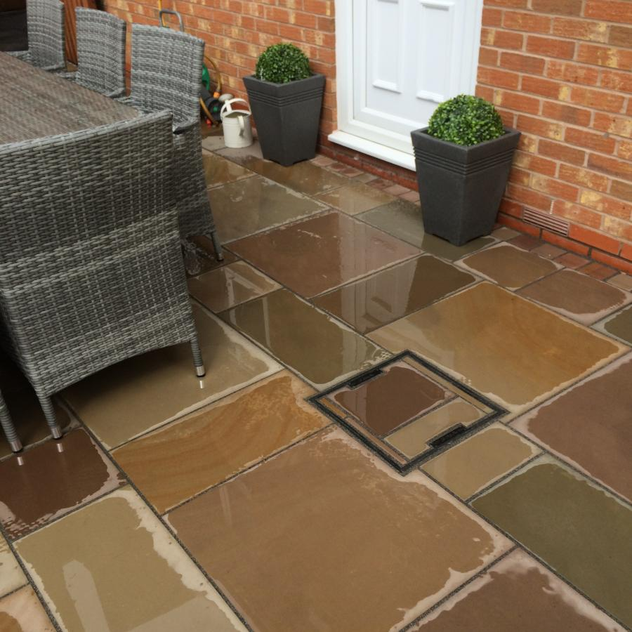 5 Natural Smooth Sandstone Patio, Pathways and Artificial Grass Image
