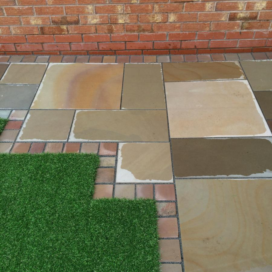 13 Natural Smooth Sandstone Patio, Pathways and Artificial Grass Image