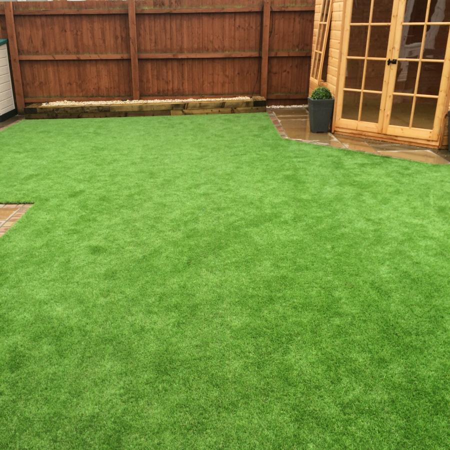 14 Natural Smooth Sandstone Patio, Pathways and Artificial Grass Image