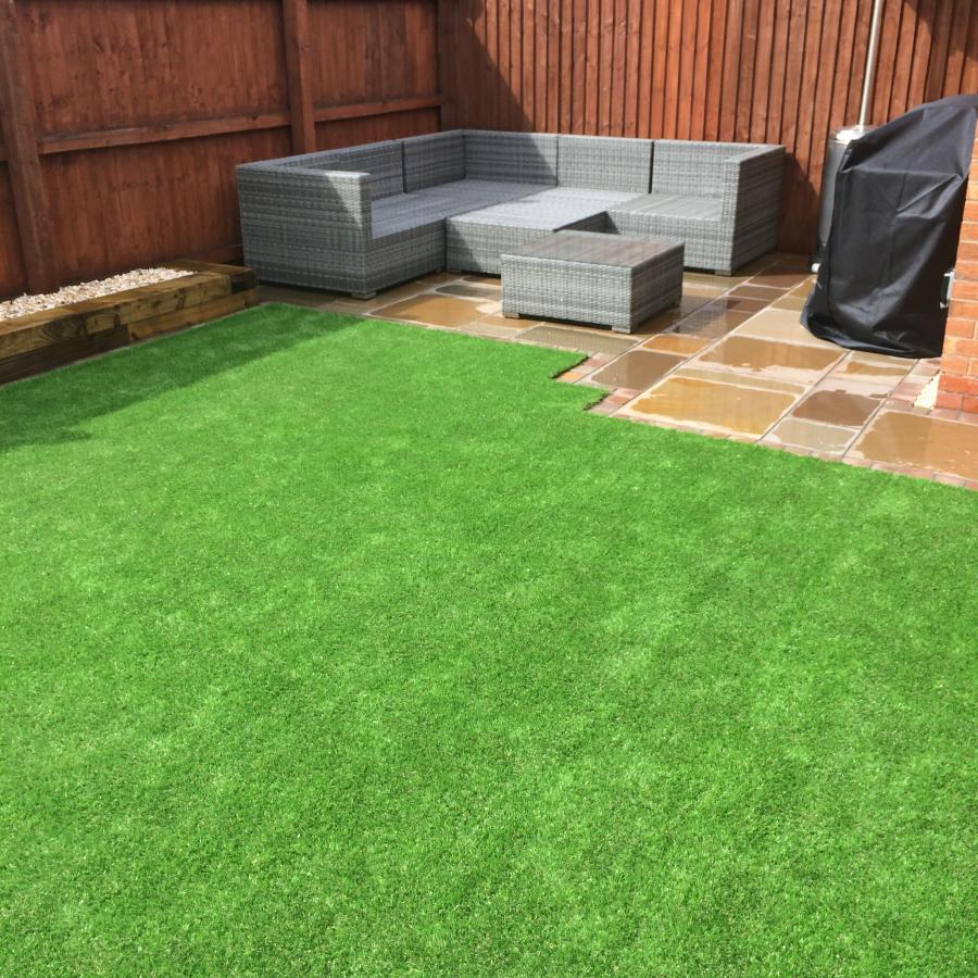 8 Natural Smooth Sandstone Patio, Pathways and Artificial Grass Image