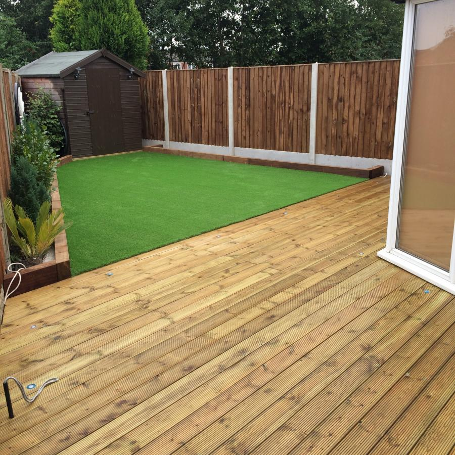 Lowton landscapes driveways and patios for Decking back of garden