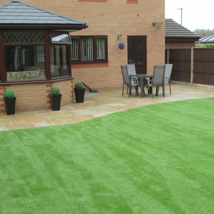 12 Natural stone driveway, Patio & Artificial grass in Pennington, Leigh  Image