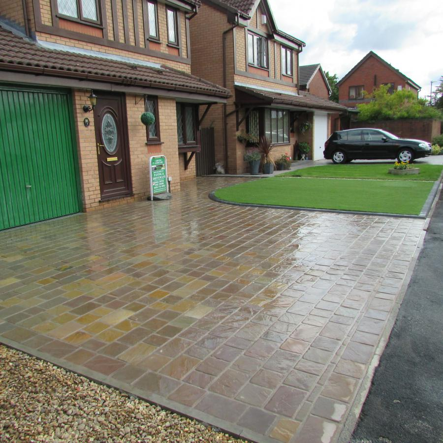 4 Natural stone driveway, Patio & Artificial grass in Pennington, Leigh  Image