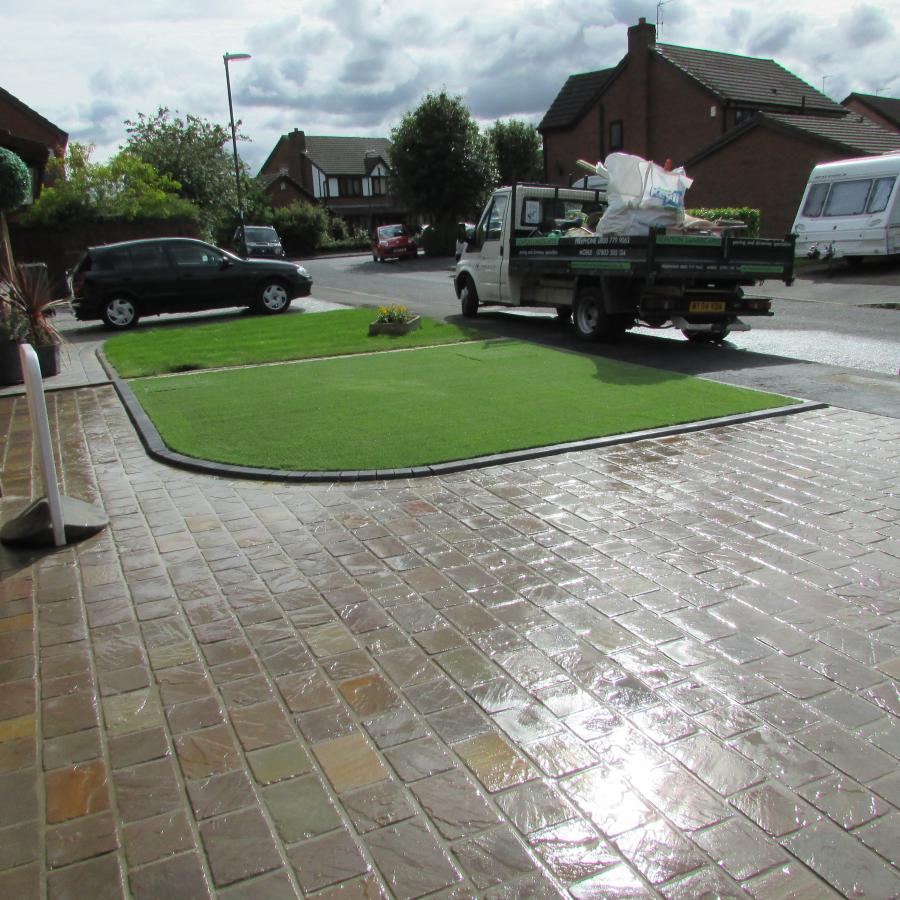 8 Natural stone driveway, Patio & Artificial grass in Pennington, Leigh  Image