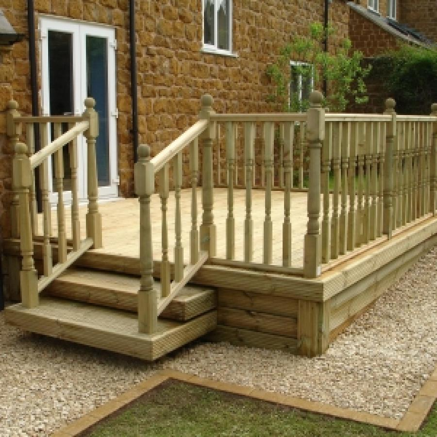 Wooden garden decking from lowton landscpes for Images of garden decking